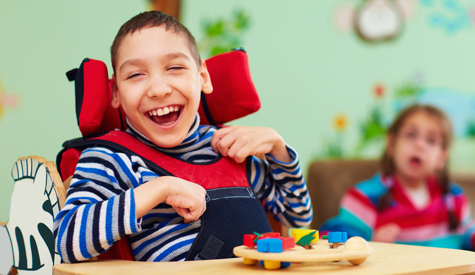 smiling boy at the disability awareness course at gsts